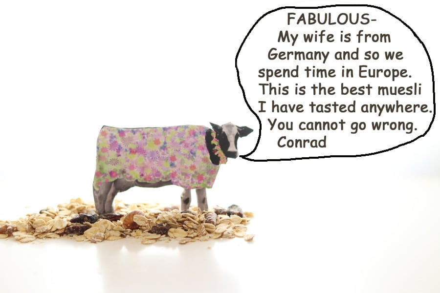 Fabulous - My wife is from Germany and so we spend time in Europe. This is the best muesli I have tasted anywhere. You cannot go wrong. Review by Conrad.